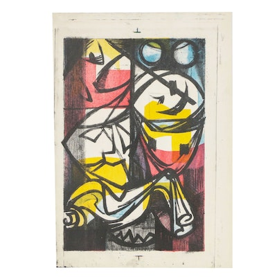 """Arthur Helwig Abstract Color Lithograph """"Masks"""""""