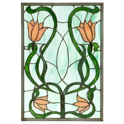 Art Nouveau Style Slag Glass Panel