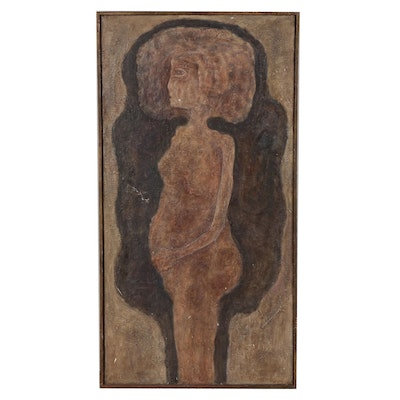 "Dennis Byng Abstract Oil Painting ""Standing Nude"""