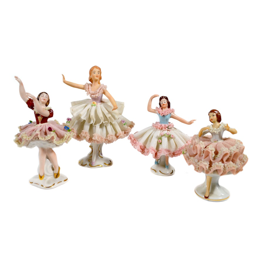 Dresden Lace Ballerina Figurines, Mid 20th Century