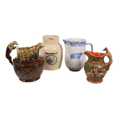 Harber Rockingham Brown Ware Hound Pitcher and Other Pitchers