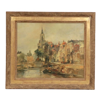 "Late 19th Century Oil Painting ""Dutch Village"""