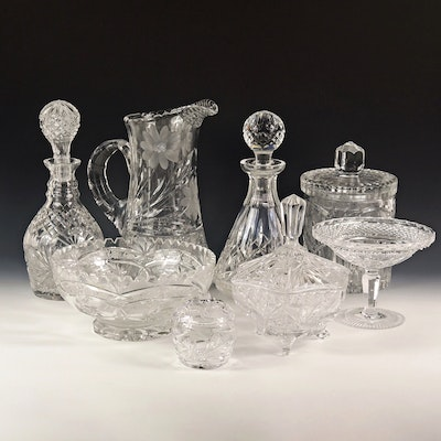 "Waterford ""Lismore"" Crystal Decanter and Other Cut Glass and Crystal Tableware"