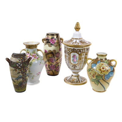 Hand Painted Noritake Lidded Urn and Other Porcelain  Vases