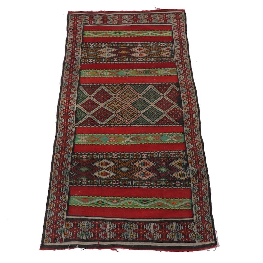 2'10 x 5'11 Handwoven Caucasian Soumak Wool Runner, 1920s