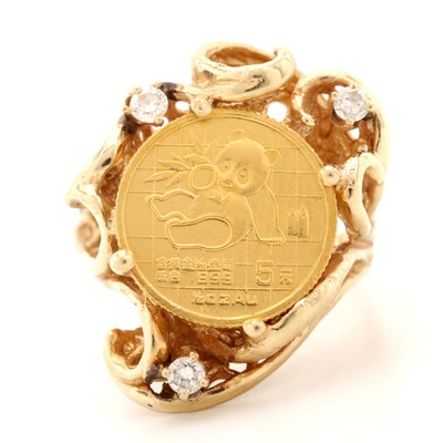 14K Yellow Gold Diamond Ring Featuring 24K 5 Yuan Gold Panda Bullion Coin