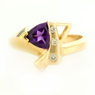 14K Yellow Gold Amethyst and Diamond Geometric Ring