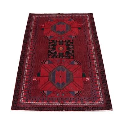 5'6 x 8'9 Signed Hand-Knotted Persian Kurdish Bijar Wool Rug, 1970s
