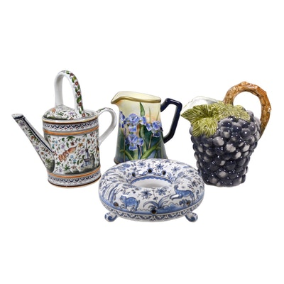 Portuguese Porcelain Watering Pot, Flower Ring and Other Porcelain