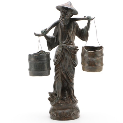 Cast Metal Statuette of Asian Man Carrying Water Buckets