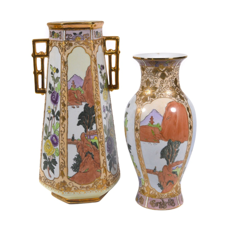 Hand Painted Nippon Porcelain Vases, Mid 20th Century