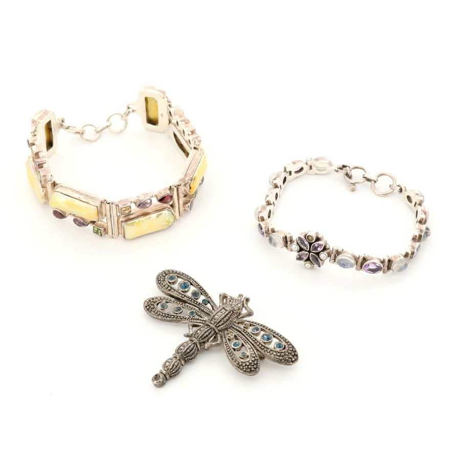 Gemstone Dragonfly Brooch and Sterling Silver Bracelets