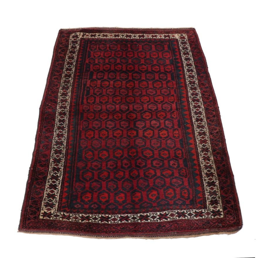 4'7 x 6'9 Hand-Knotted Persian Baluch Wool Rug, 1920s