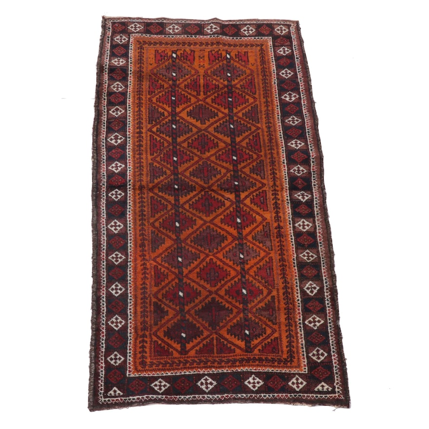 2'6 x 4'9 Hand-Knotted Persian Baluch Wool Rug, 1930s