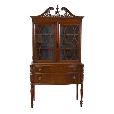 Sheraton Style Flamed Mahogany China Cabinet, Vintage