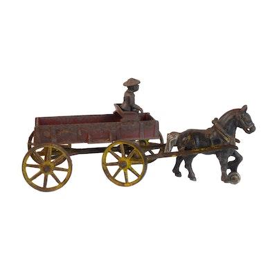 Kenton Toys Cast Iron Horse and Wagon Toy, Antique