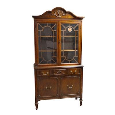 Louis XVI Style Mahogany China Cabinet, Vintage