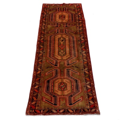 3'5 x 10'3 Hand-Knotted Northwest Persian Wool Runner, 1940s