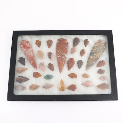 Collection of Thirty-Two Contemporary Arrowheads