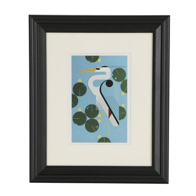 "Offset Lithograph After Charley Harper ""Herondipity"""