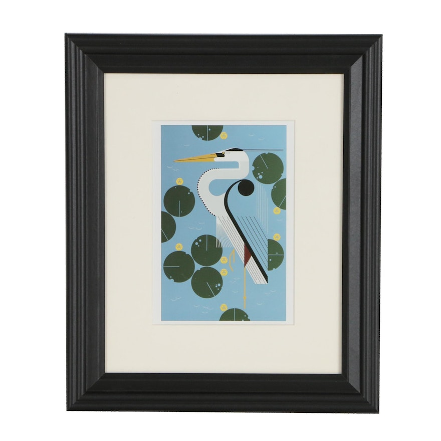 """Offset Lithograph After Charley Harper """"Herondipity"""""""