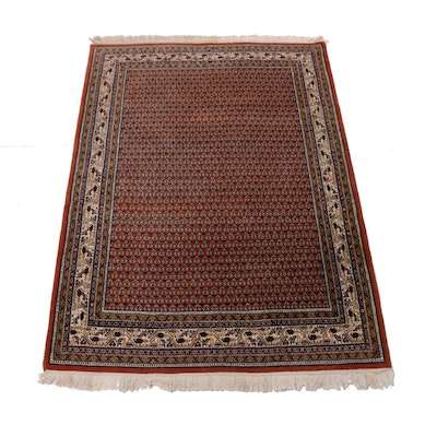 4'8 x 6'9 Hand-Knotted Indo-Persian Mir Sarouk Rug