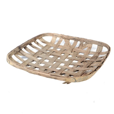 Woven Hickory Tobacco Basket, Early 20th Century