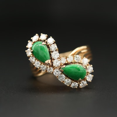 14K Yellow Gold Jadeite and 1.00 CTW Diamond Bypass Ring