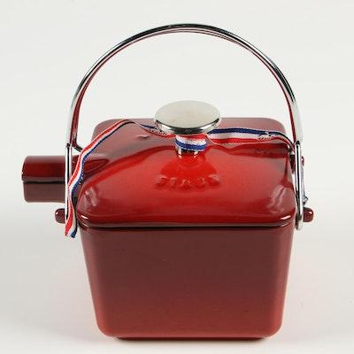 """Staub Pimento Red """"La Théière"""" Enameled Cast Iron Square Teapot"""