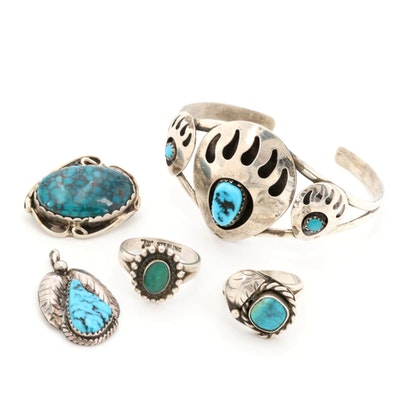 Southwestern Style Sterling Silver Turquoise Jewelry including Bell Trading Co.