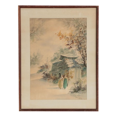 Hoe Won Watercolor Painting of Women Walking in Garden