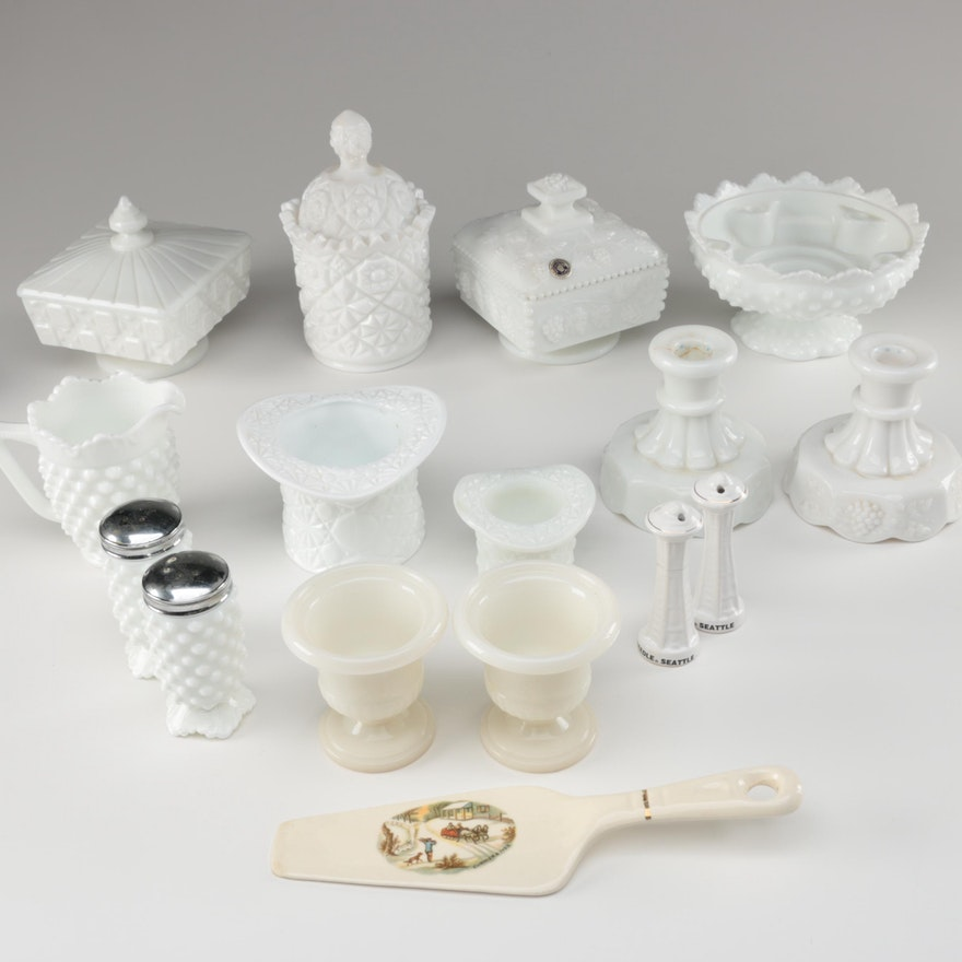 Fenton, Westmoreland and Other Milk Glass Table Accessories, Mid-Century