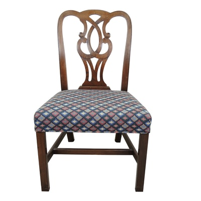 Chippendale Style Contemporary Upholstered Mahogany Chair