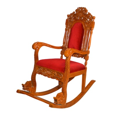 Indonesian Throne Style Rocking Chair, Vintage