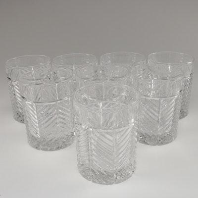 "Ralph Lauren ""Herringbone"" Crystal Old Fashioned Glasses"