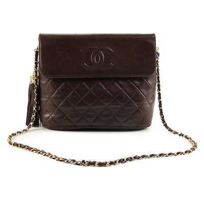 Chanel Dark Brown Quilted Lambskin Leather Chain Shoulder Bag with Tassel