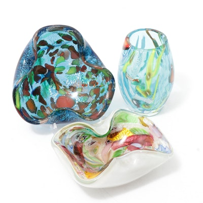 "Murano Venetian ""Tutti-Frutti"" Art Glass Dishes and Vase"