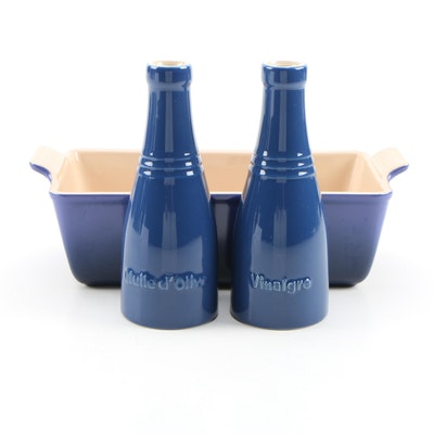 Le Creuset Marseille Stoneware Loaf Pan with Oil and Vinegar Cruet Set