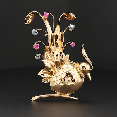 18K Yellow Gold Sapphire and Ruby Bird Brooch