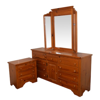Webb Pine Dresser With Mirror and Nightstand, Late 20th Century