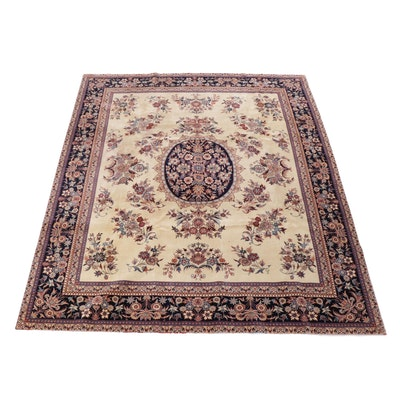 8' x 9'7 Hand-Knotted Sino-Persian Isfahan Wool Rug, 1990s