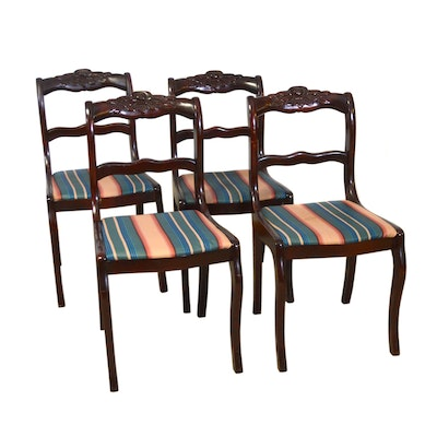 Carved Mahogany Side Chairs, Set of Four, Vintage