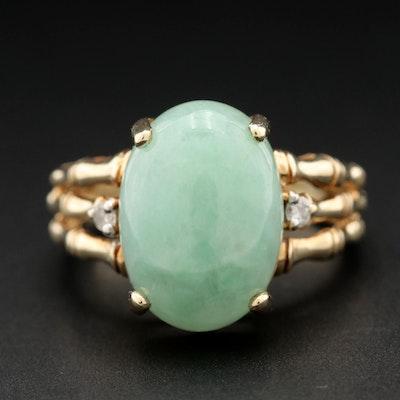 10K Yellow Gold Jadeite and Diamond Ring