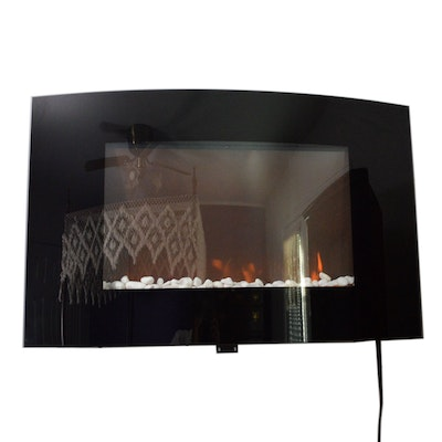 Pro Lectrix Black Curved Glass Electric Fireplace