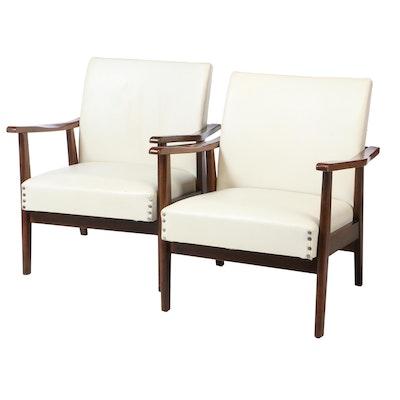 Pair of Mid Century Modern Walnut Armchairs