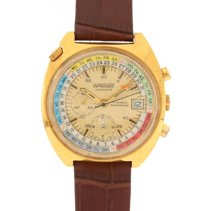 Vintage Wakmann Gold Tone Automatic Chronograph Wristwatch
