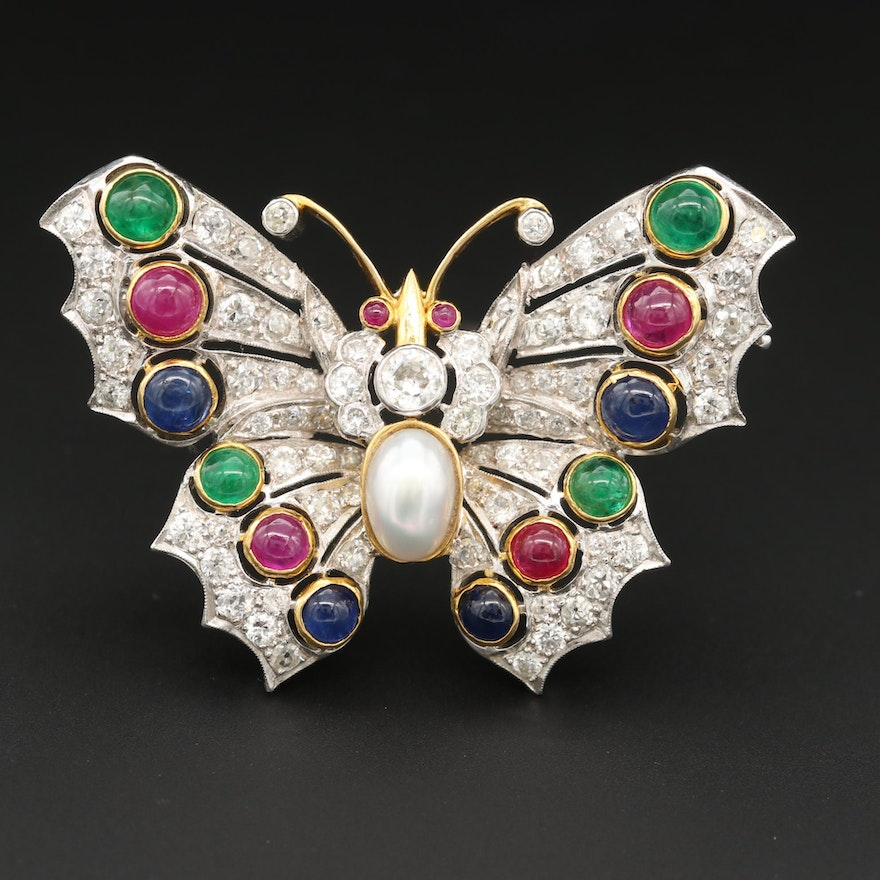 18K White and Yellow Gold 4.73 CTW Diamond, Ruby, and Gemstone Butterfly Brooch