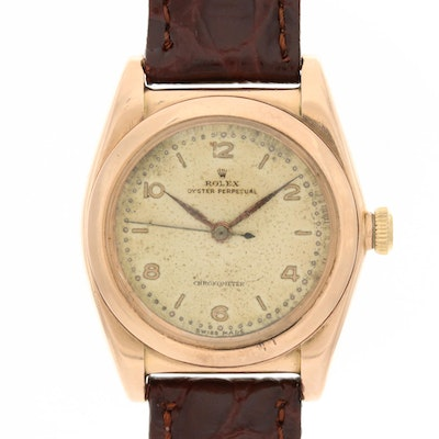 Vintage Rolex 14K Rose Gold Bubble Back Wristwatch