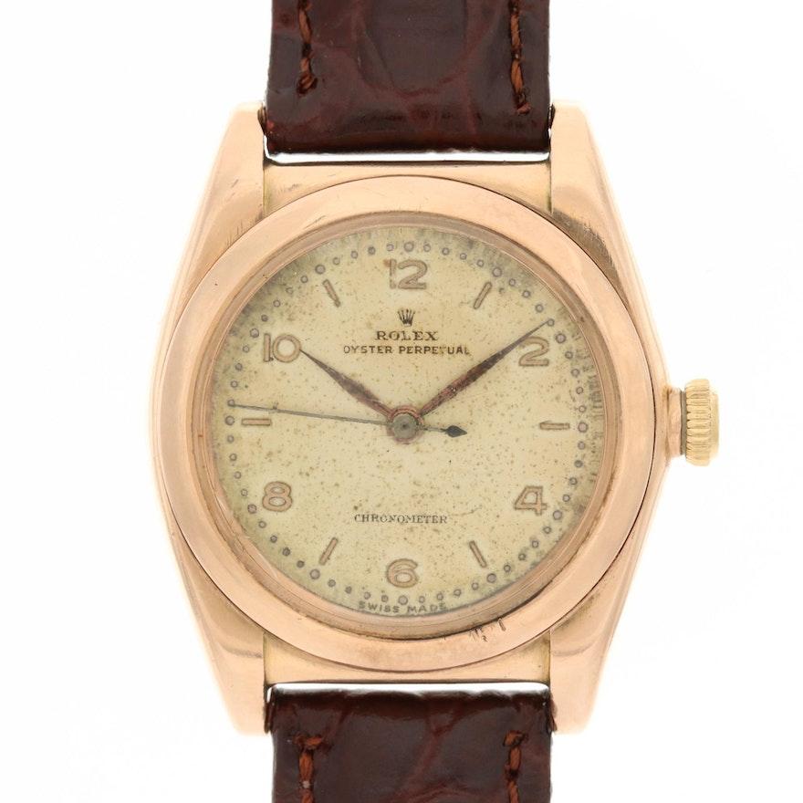 Vintage Rolex 14K Rose Gold Bubble Back Wristwatch