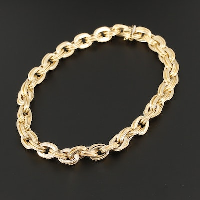 14K Yellow Gold Cable Link Chain Necklace